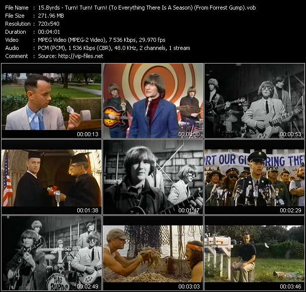 "Screenshot of Music Video Byrds - Turn! Turn! Turn! (To Everything There Is A Season) (From ""Forrest Gump"")"