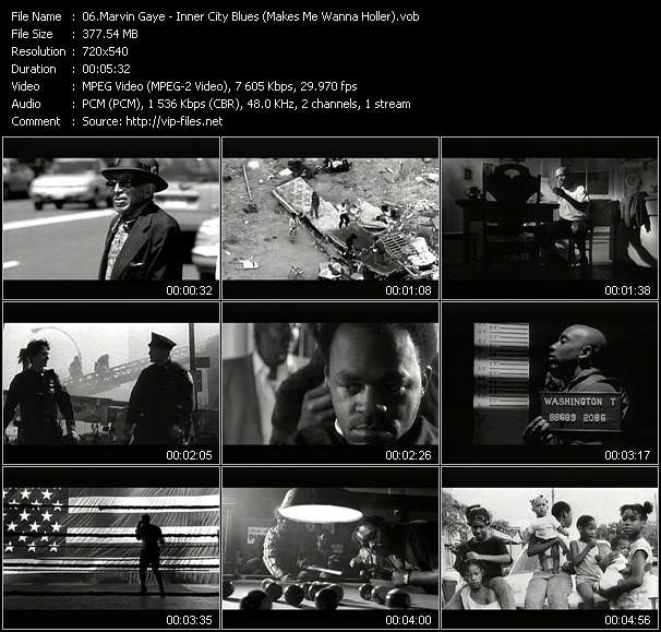 Screenshot of Music Video Marvin Gaye - Inner City Blues (Makes Me Wanna Holler)