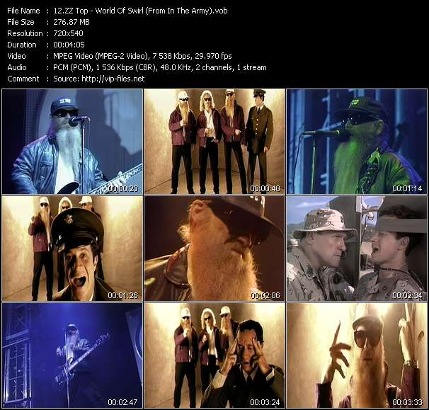 "Screenshot of Music Video ZZ Top - World Of Swirl (From ""In The Army"")"