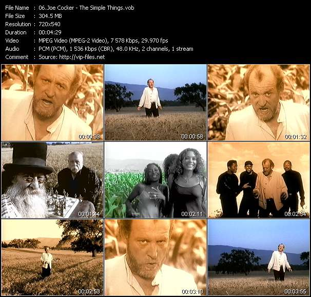 Screenshot of Music Video Joe Cocker - The Simple Things