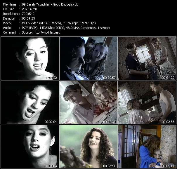 Screenshot of Music Video Sarah McLachlan - Good Enough