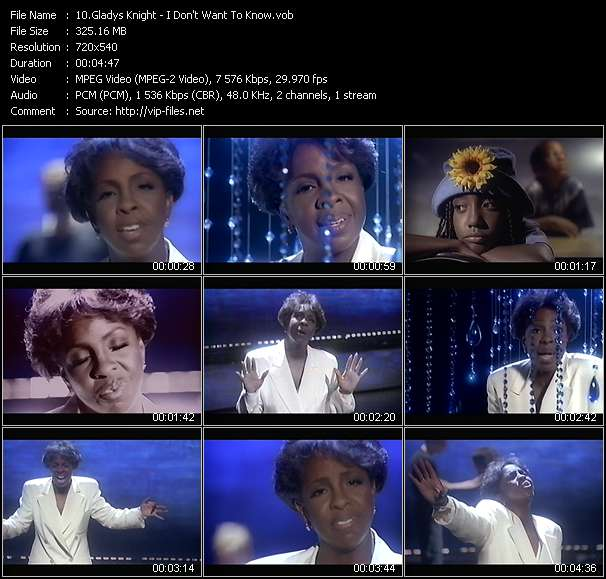 Screenshot of Music Video Gladys Knight - I Don't Want To Know