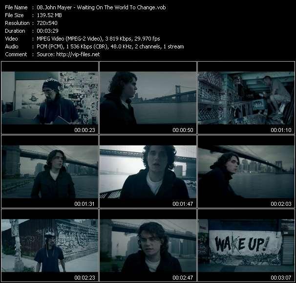 Screenshot of Music Video John Mayer - Waiting On The World To Change