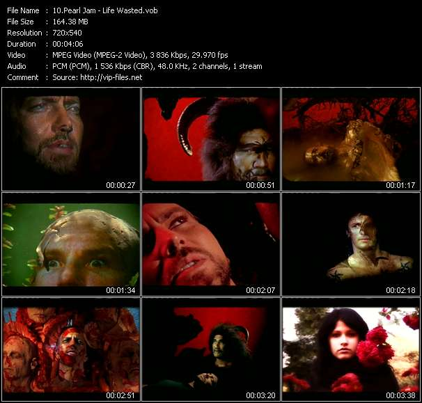Screenshot of Music Video Pearl Jam - Life Wasted