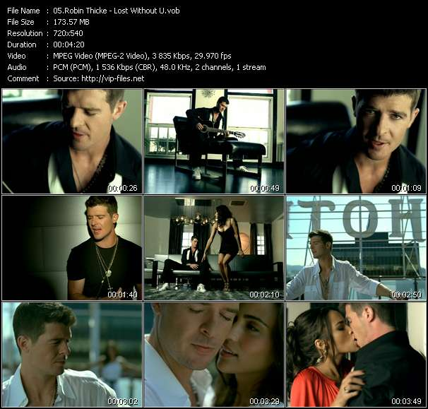 Screenshot of Music Video Robin Thicke - Lost Without U