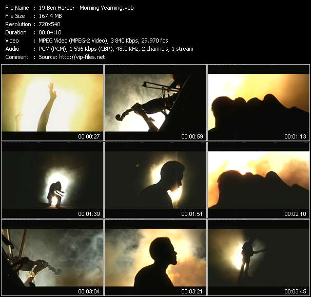Screenshot of Music Video Ben Harper - Morning Yearning