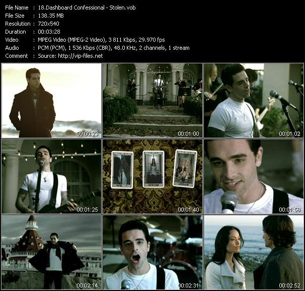 Screenshot of Music Video Dashboard Confessional - Stolen