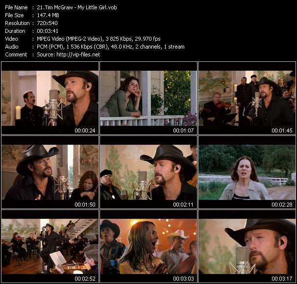 Screenshot of Music Video Tim McGraw - My Little Girl