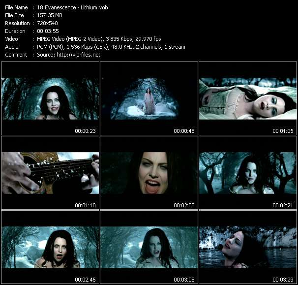 Screenshot of Music Video Evanescence - Lithium
