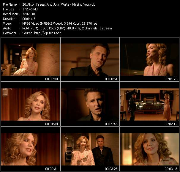 Screenshot of Music Video Alison Krauss And John Waite - Missing You
