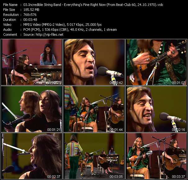 Screenshot of Music Video Incredible String Band - Everything's Fine Right Now (From Beat-Club 60, 24.10.1970)