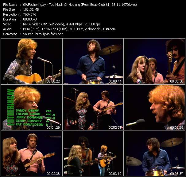 Screenshot of Music Video Fotheringay - Too Much Of Nothing (From Beat-Club 61, 28.11.1970)