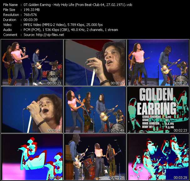 Screenshot of Music Video Golden Earring - Holy Holy Life (From Beat-Club 64, 27.02.1971)