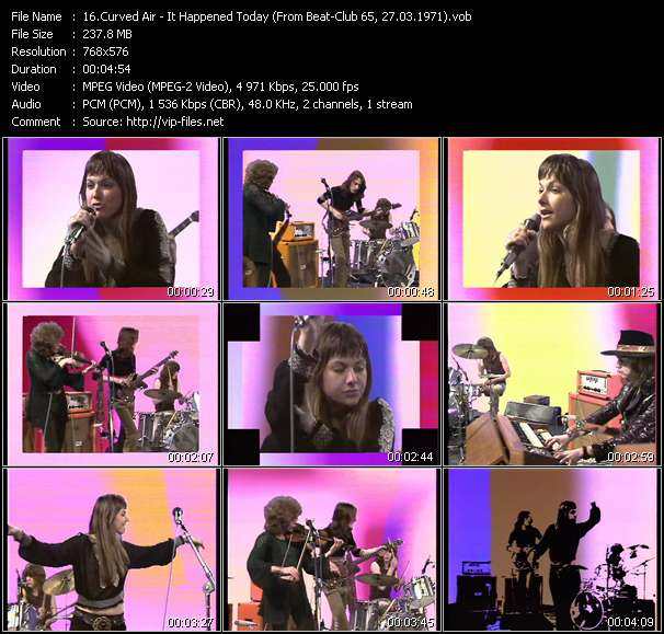 Screenshot of Music Video Curved Air - It Happened Today (From Beat-Club 65, 27.03.1971)