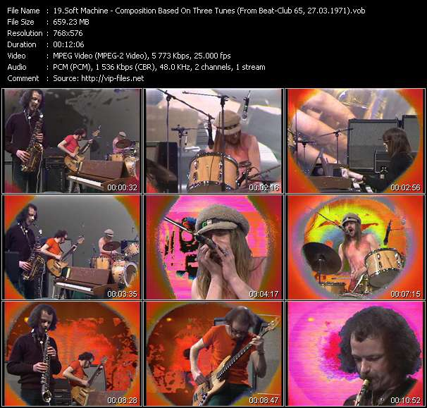 Screenshot of Music Video Soft Machine - Composition Based On Three Tunes (From Beat-Club 65, 27.03.1971)