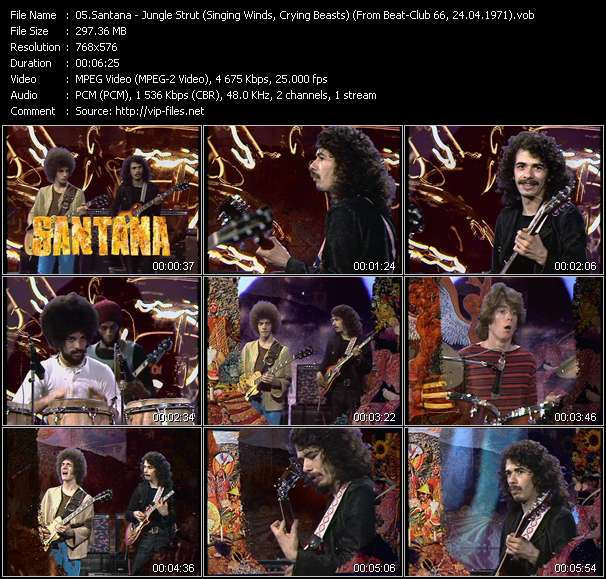 Screenshot of Music Video Santana - Jungle Strut (Singing Winds, Crying Beasts) (From Beat-Club 66, 24.04.1971)