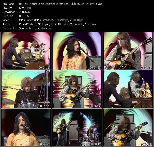 Screenshot of Music Video Yes - Yours Is No Disgrace (From Beat-Club 66, 24.04.1971)