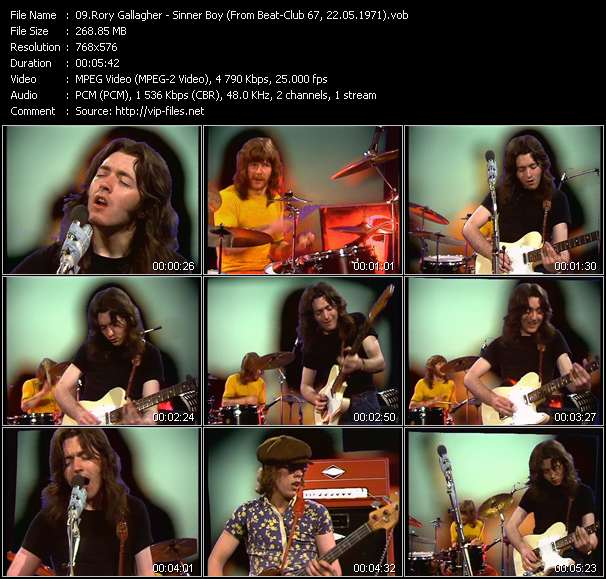 Screenshot of Music Video Rory Gallagher - Sinner Boy (From Beat-Club 67, 22.05.1971)