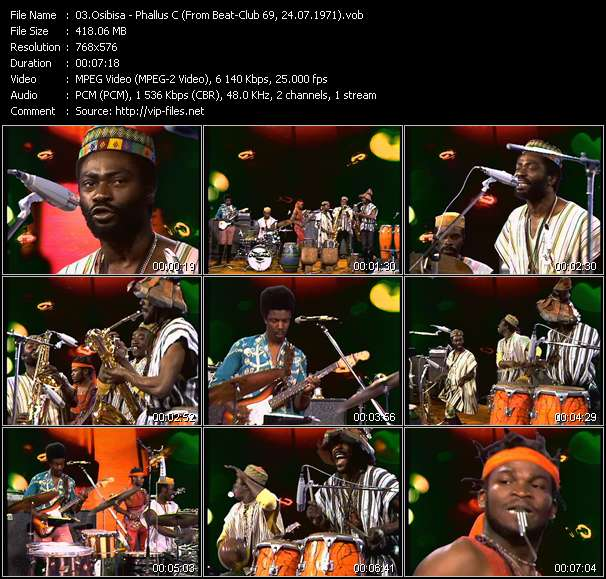 Screenshot of Music Video Osibisa - Phallus C (From Beat-Club 69, 24.07.1971)