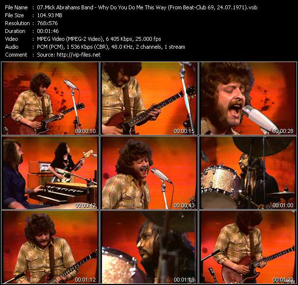 Screenshot of Music Video Mick Abrahams Band - Why Do You Do Me This Way (From Beat-Club 69, 24.07.1971)