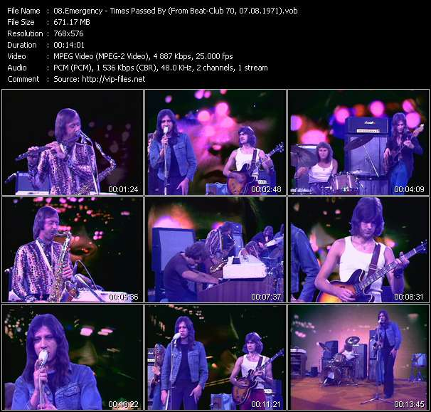 Screenshot of Music Video Emergency - Times Passed By (From Beat-Club 70, 07.08.1971)