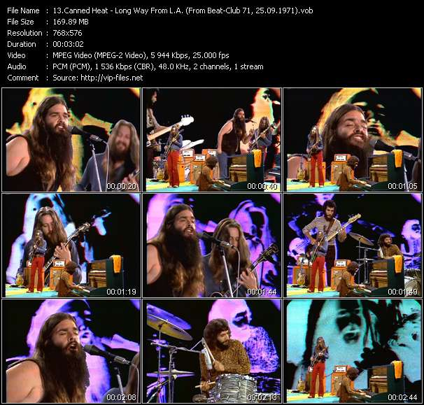 Screenshot of Music Video Canned Heat - Long Way From L.A. (From Beat-Club 71, 25.09.1971)