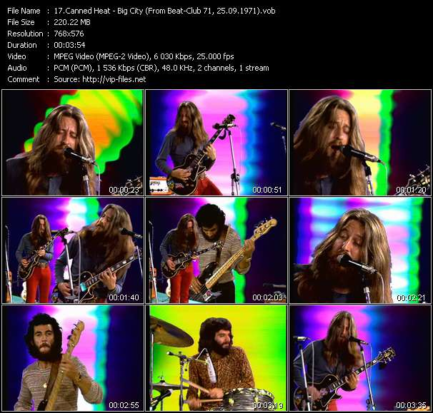 Screenshot of Music Video Canned Heat - Big City (From Beat-Club 71, 25.09.1971)