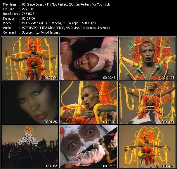 Screenshot of Music Video Grace Jones - I'm Not Perfect (But I'm Perfect For You)