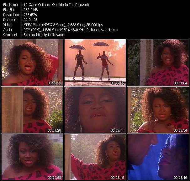 Screenshot of Music Video Gwen Guthrie - Outside In The Rain
