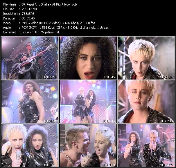 Screenshot of Music Video Pepsi And Shirlie - All Right Now