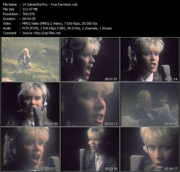 Screenshot of Music Video Samantha Fox - True Devotion