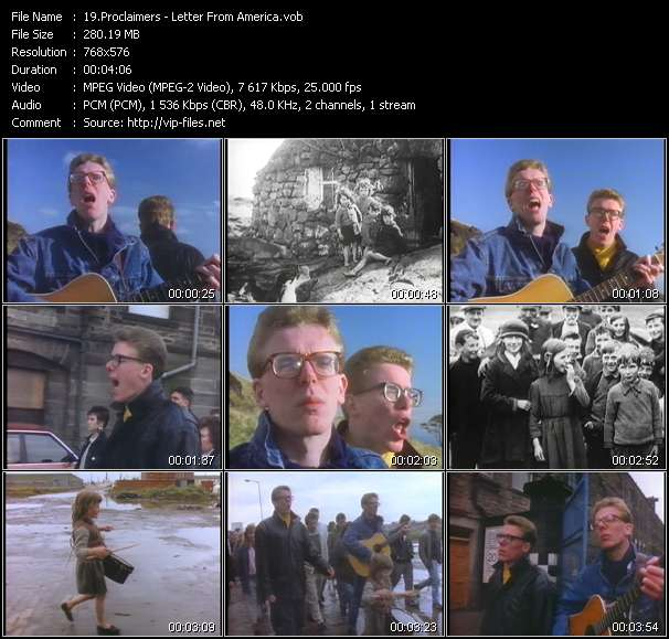 Screenshot of Music Video Proclaimers - Letter From America