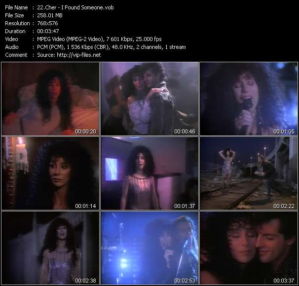 Screenshot of Music Video Cher - I Found Someone