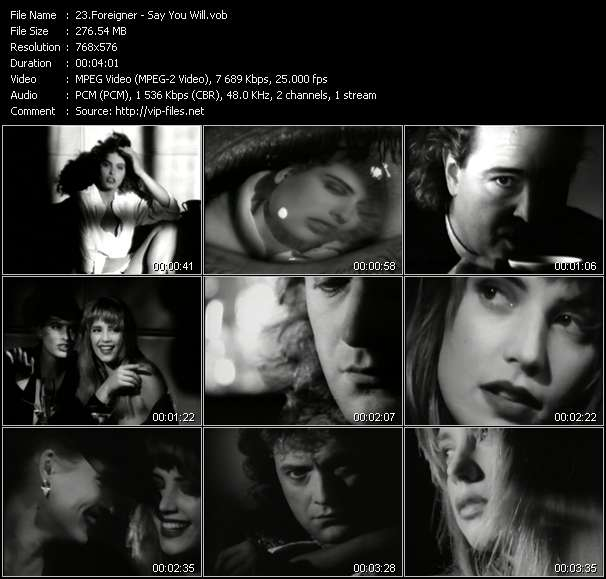 Screenshot of Music Video Foreigner - Say You Will
