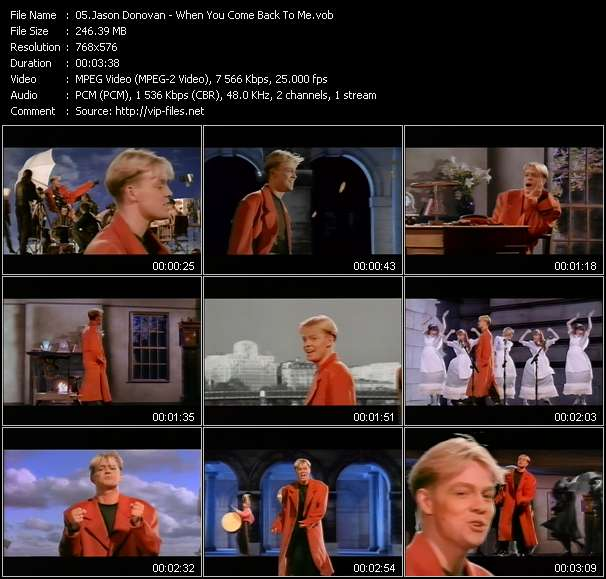 Screenshot of Music Video Jason Donovan - When You Come Back To Me