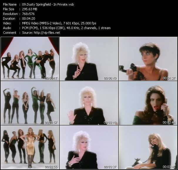 Screenshot of Music Video Dusty Springfield - In Private