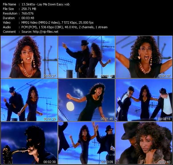Screenshot of Music Video Sinitta - Lay Me Down Easy