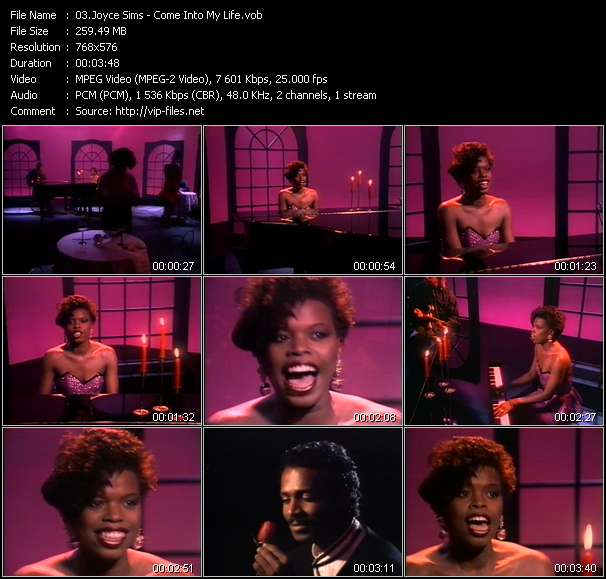 Screenshot of Music Video Joyce Sims - Come Into My Life