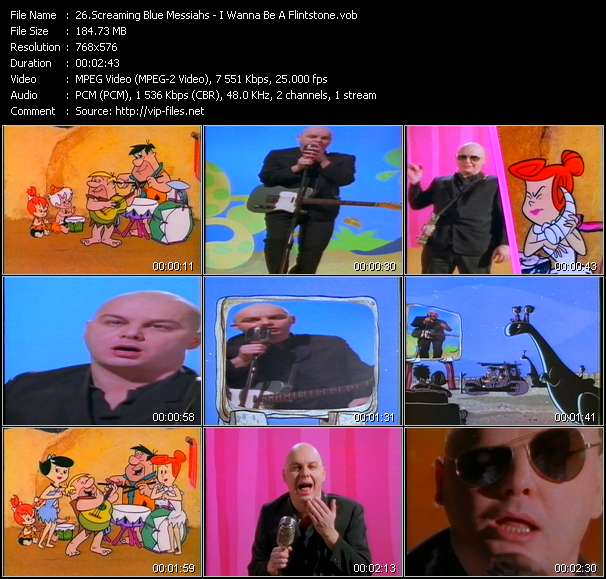 Screenshot of Music Video Screaming Blue Messiahs - I Wanna Be A Flintstone