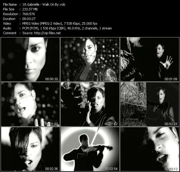 Screenshot of Music Video Gabrielle - Walk On By