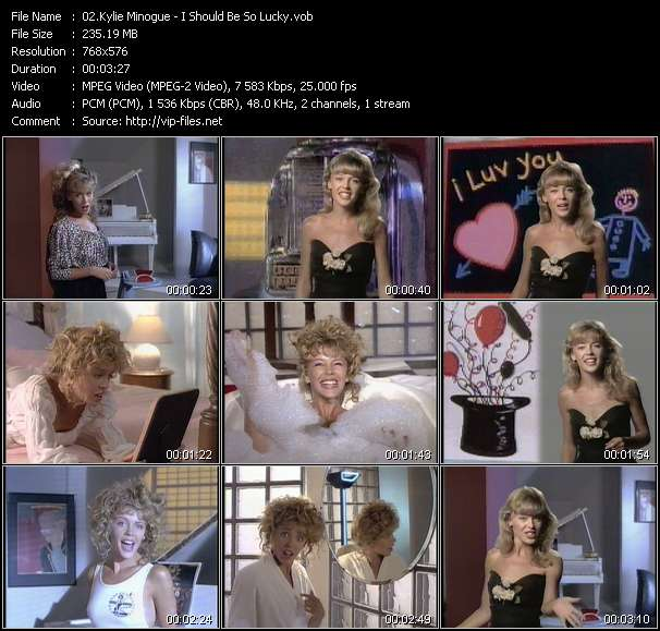 Screenshot of Music Video Kylie Minogue - I Should Be So Lucky