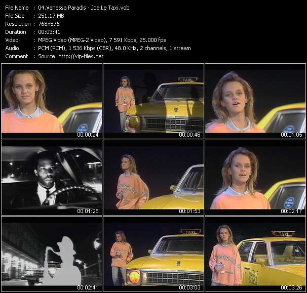 Screenshot of Music Video Vanessa Paradis - Joe Le Taxi