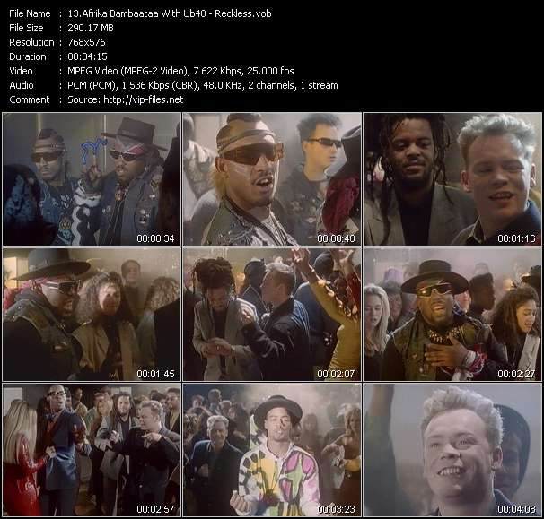 Screenshot of Music Video Afrika Bambaataa With Ub40 - Reckless