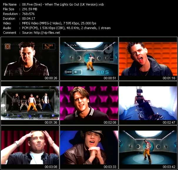 Screenshot of Music Video Five (5ive) - When The Lights Go Out (UK Version)