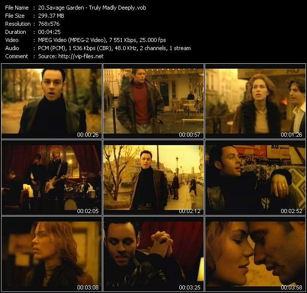Screenshot of Music Video Savage Garden - Truly Madly Deeply