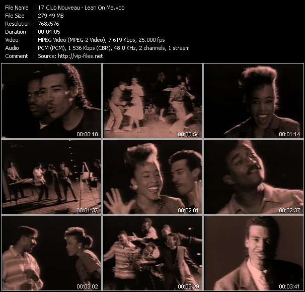 Screenshot of Music Video Club Nouveau - Lean On Me