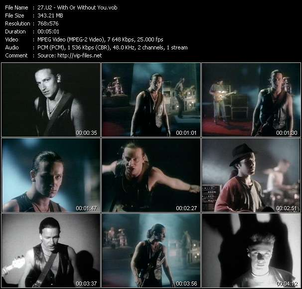 Screenshot of Music Video U2 - With Or Without You