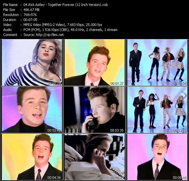 Screenshot of Music Video Rick Astley - Together Forever (12 Inch Version)