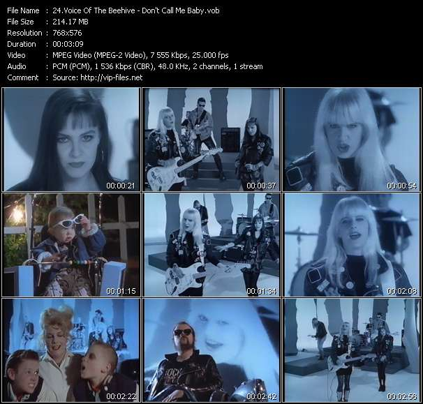 Screenshot of Music Video Voice Of The Beehive - Don't Call Me Baby