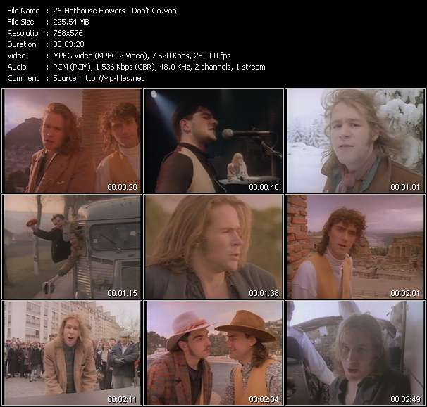 Screenshot of Music Video Hothouse Flowers - Don't Go
